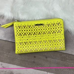 Stella & Dot yellow perforated double zip clutch